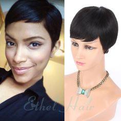 2016 New Pixie Cut cheap Human Hair Wig Rihanna Black Short Cut Wigs For Black Women African American Celebrity Wigs Hot Sale