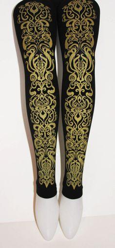 Art Nouveau Printed Footless Tights Leggings Medium Tall Gold on Black Womens Metallic Ornate