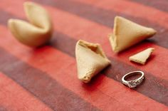 Diamond Engagement Ring inside a fortune cookie!