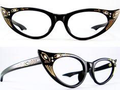 Vintage Eyeglasses Frames Eyewear Sunglasses 50S: VINTAGE 50s CAT EYE GLASSES SUNGLASS FRAME GLASSES
