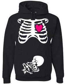 Halloween Costume Rib Cage & Baby Skeleton NON Maternity Pullover Hooded Sweatshirt (Classic Cut Hoodie) in Black / White / Hot Pink on Etsy, $32.50