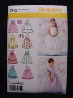NEW Simplicity 3943 Flower Girl Dress Pattern Pageant Princess Formal Sz 3-6