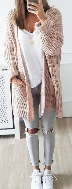 #Winter #Outfits / Oversized Pastel Pink Knit Cardigan + Gray Jeans