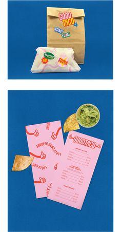 Good Taco - Fast Food Resturant on Behance Food Branding, Food Packaging Design, Restaurant Branding, Logo Food, Packaging Design Inspiration, Brand Packaging, Graphic Design Inspiration, Burger Packaging, Pizza Branding