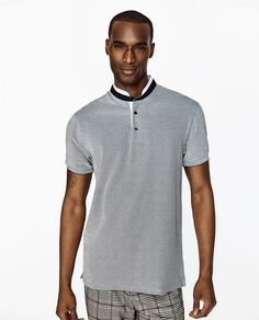Discover the new ZARA collection online. The latest trends for Woman, Man, Kids and next season's ad campaigns. Pique Polo Shirt, Polo Shirts, Zara Official Website, Latest Outfits, Mandarin Collar, Latest Trends, Menswear, Mens Tops, Men Shirt