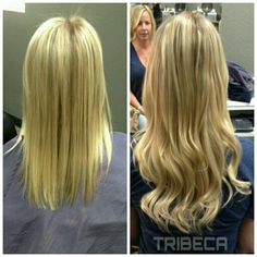 Beautiful Invisi-tab Extensions install by Christine #tribecacolorsalon on Kennedy Blvd. #blondes #extensions #beforeandafter #tampahair #tampaextensions
