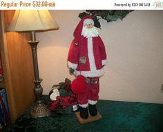 Folk Art Santa Claus Vintage Hand Crafted Tall Skinny