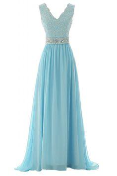 Sunvary Elegant Neu V-Ausschnitt Chiffon Lang Steine Abendkleid Ballkleider: Amazon.de: Bekleidung