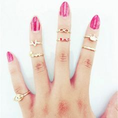 $6.66 A Suit of Sweet English Letter Crown Rings For Women