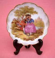 CHARMING VINTAGE LIMOGES CASTEL FRAGONARD SIGNED HAND-DECORATED PLATE WITH STAND