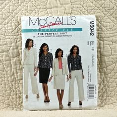 Jacket, Skirt and Pants, McCalls M6042 Pattern for Women, Lined, Princess Seams, Straight Legs, 2010 Uncut, Size 16 18 20 22, 5-oz by DartingDogPatterns on Etsy