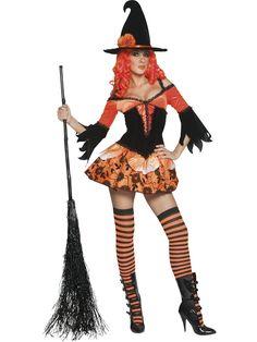 Halloween Noita. Näyttävä, musta-oranssi minimekko on koristeellinen ja naamiaisasun kruunaa noitahattu.