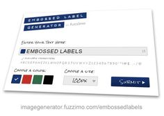Embossed label generator
