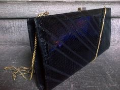 Vintage Black Leather Clutch Bag  - Italian Design by WhitleyBay on Etsy