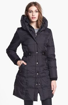 DKNY Faux Leather Trim Quilted Coat on shopstyle.com