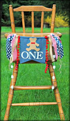 Teddy bear birthday banner, highchair garland, photo prop, smash cake, first birthday, teddy bear picnic, paddington bear, navy & red