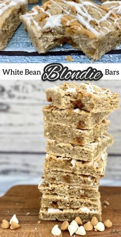 These moist and chewy blondie bars are made with canned white beans, but you'd never know it by the taste! You get a burst of butterscotch and hints of maple in every bite, and some extra sweetness from the white chocolate drizzle. #HealthyDesserts #BlondieBars #WhiteBeanBlondieBars #Desserts #Blondies #Beans #CansForComfort Veggie Recipes, Sweet Recipes, Cooking Recipes, Chocolate Drizzle, White Chocolate, Healthy Desserts, Just Desserts, Blondie Bar, White Beans