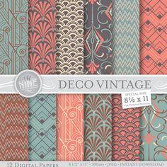"VINTAGE ART DECO Pattern Digital Paper Pack Pattern Prints, Instant Download, 8 1/2"" x 11"" Patterns Backgrounds Print"