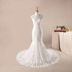 High neck lace mermaid style elegant wedding dress