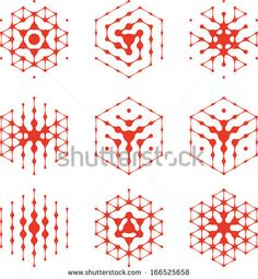 Design halftone hexagon cell element. Abstract water molecule vector logo template set.You can use in the media, mobile, water ,biology, chemistry, science and other commercial image.