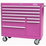"26"" 6 Drawer 18G Steel Rolling Cabinet, Pink- The Original Pink Box-Tools-Tool Storage-Bottom Rollaway Chests"