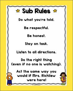 Free sub rules poster for when you're absent! It's customizable as well!