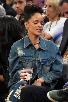 Rihanna street style candids 2014 x basketball game courtside
