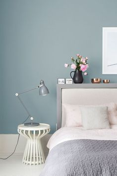 Bedroom : Inspirations Ideas Design Color 2018 Color Of The Year Interior Paint Bedroom Paint Colors Room Colors' Paint Ideas For Bedrooms' Home Paint Colors and Bedrooms Bedroom Wall Colors, Bedroom Color Schemes, Home Decor Bedroom, Bedroom Retreat, Bedroom Chair, Blue Feature Wall Bedroom, Relaxing Bedroom Colors, Painted Feature Wall, Kitchen Feature Wall