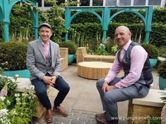 Garden designer Lee Bestall and contractor Jon Housley, pictured in the Years of Covent Garden' The Sir Simon Milton Foundation Garden in Partnership with Capco, which Lee and Jon created for the RHS Chelsea Flower Show Garden Walls, Shows 2017, Hampton Court, Chelsea Flower Show, Covent Garden, Hedges, Beautiful Gardens, Markers, Foundation