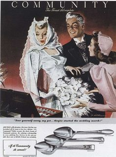 Illustration of a vintage wedding for Community Silverplate, 1942.