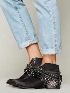 Studded strap booties.