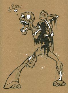 Night of the Living Dead: Zombie Art  Tar Zombie Loev Brains by Coelasquid #zombie #illustration #coelasquid