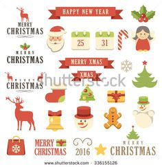 Vector Christmas set. Isolated. Vector illustration.
