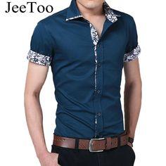 Мужские рубашки брендовая Летняя мужская одежда Рубашки для мальчиков  короткий рукав Повседневная рубашка Для мужчин Slim Fit Camisa Дизайн офиц. 33e54069a77
