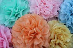 9 tissue Pom Poms - Pick your colors- wedding decorations/ photography prop/ holiday party decorations/ Thanksgiving table setting Etsy $37