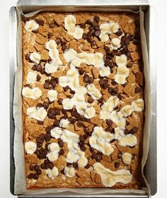 Delicious Bar Cookies  S'mores Blondies  Transform the campfire classic into a portable dessert in this chewy, chocolatey, marshmallow-filled bar.