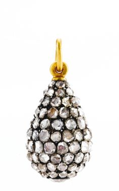 A Fabergé jeweled egg pendant, workmaster Michael Perchin, St. Petersburg, circa 1890, set with diamonds, the base with a larger collet-set diamond.