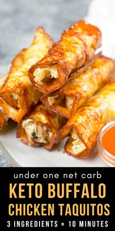 These Keto Buffalo Chicken Taquitos only have three ingredients, can be made in under 10 minutes and have nearly no carbs! These Keto Buffalo Chicken Taquitos only have three ingredients, can be made in under 10 minutes and have nearly no carbs! Ketogenic Recipes, Low Carb Recipes, Diet Recipes, Cooking Recipes, Ketogenic Diet, Smoothie Recipes, Paleo Keto Recipes, Snacks Recipes, Juice Recipes