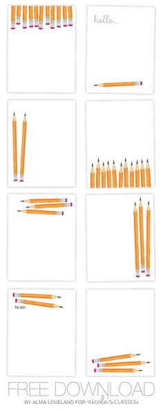 Pencil printable cards. resize for project life.