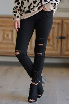 7ae514334e5 KAN CAN Distressed Skinny Jeans - Black women's ankle jeans, Closet Candy  Boutique 1 Women's