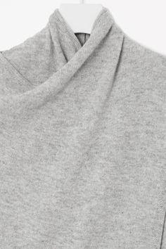 COS image 6 of Overlap wool jumper in Light Grey