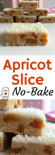 No Bake Apricot Slice substitute plain biscuits for the Wine biscuits Easy Baking Recipes, Easy Cookie Recipes, Brownie Recipes, Easy Desserts, Sweet Recipes, Delicious Desserts, Dessert Recipes, Cooking Recipes, Yummy Food