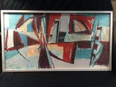 22X41 INCH CUBIST STYLE OIL ON BOARD PAINTING. FEATURES RUST, TURQUOISE AND PEACH HUES. UNSIGNED BUT ED MIX IS PENNED ON THE BACK.