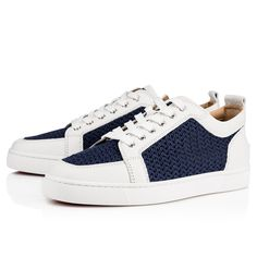 Christian Louboutin United States Official Online Boutique - Ac Rantulow Flat  White/Navy Jumbo Calf/Tricot available online. Discover more Men Shoes by Christian Louboutin