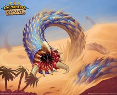 Sand Worm Card illustration for the board game Enchanters: Odyssey Art director - Bartek Repetowski Art Director, Worms, Card Games, Illustration, Artwork, Projects, Anime, Fictional Characters, Board