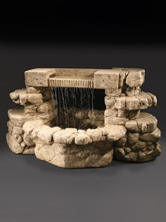 Create a picture perfect garden scene with this Rainbow Falls Cast Stone Outdoor Fountain. Made with durable cast stone, this piece from Al's Garden Art looks like a well with its rock-like texture an Small Fountains, Garden Fountains, Garden Pond, Outdoor Fountains, Water Fountains, Garden Art, Garden Design, Diy Water Fountain, Waterfall Fountain