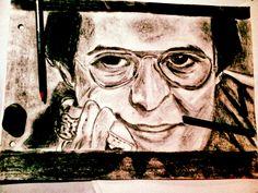 Hector Lavoe, retrato grafito y carbonilla
