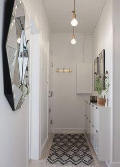 Hallway before & after First Apartment Decorating, Hallway Decorating, Interior Decorating, Interior Design, Decoracion Vintage Chic, Hallway Inspiration, Alesund, Small Hallways, Hallway Storage