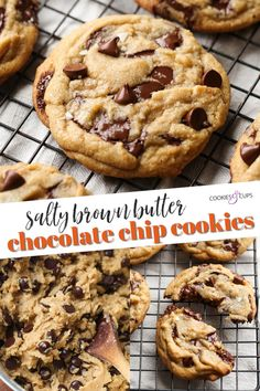 Salty Brown Butter Chocolate Chip Cookies are THE BEST chocolate chip cookies ever! I'm sharing all my tips on how to make the prettiest bakery-style cookies that require NO MIXER and NO CHILL TIME. This is my go-to chocolate chip cookie recipe...it's absolutely the best. #cookiesandcups #chocolatechipcookies #brownbutter #seasalt #cookierecipe Salty Chocolate Chip Cookies, Chicolate Chip Cookies, Brown Butter Cookies, Chocolate Chip Cookies Ingredients, Salted Chocolate, Chocolate Chip Recipes, Chocolate Chip Brownies, Keto Chocolate Chip Cookies, Chocolate Cakes