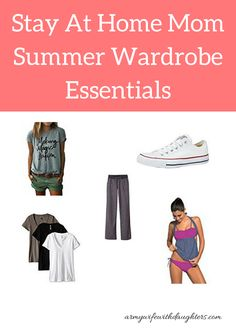 Stay at home mom summer wardrobe essentials. Here's what I'll be wearing this summer while playing with my kids... Women's fashion. Mom Fashion. Summer